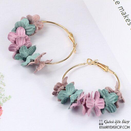 bông tai hoa vải 2 màu