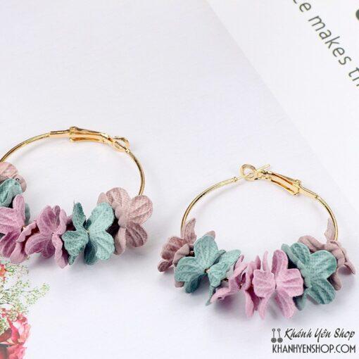 bông tai hoa vải hồng xanh