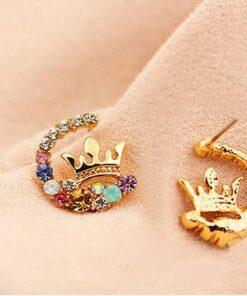 Bông Tai Vương Miện Nữ Hoàng Đính Đá Nhiều Màu 1