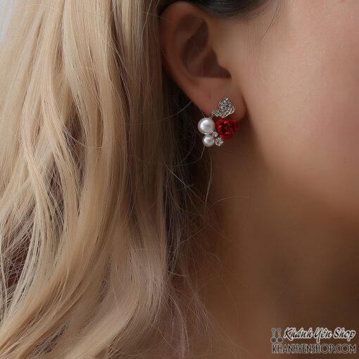 Bông Tai Sát Hình Đính Hoa Hồng Đỏ Và Châu 1